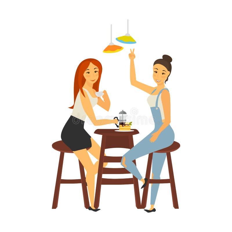 Deux filles se réunissant dans l'illustration de couleur de café d'isolement sur le blanc illustration de vecteur