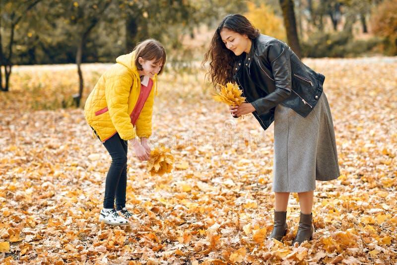 Deux filles sont en parc de ville d'automne Ils sélectionnent des feuilles image libre de droits
