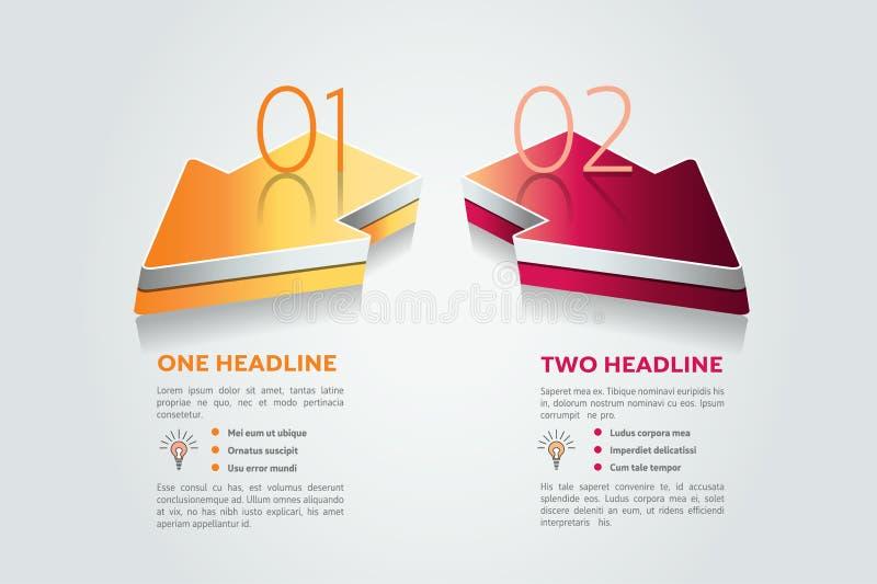 Deux flèches 2 étapes diagram, des éléments, diagrammes, infographics illustration libre de droits