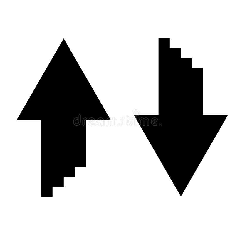 Deux flèches avec l'effet du sumulation 3d pour l'icône de téléchargement et de téléchargement noircissent l'image simple de styl illustration libre de droits