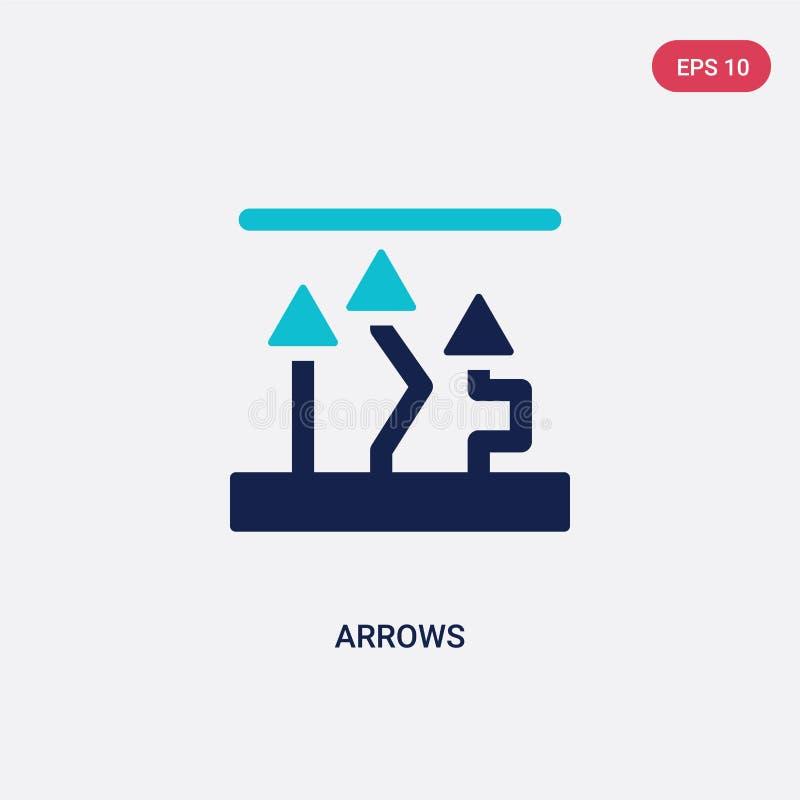 Deux flèches de couleur dirigent l'icône du concept d'analytics le symbole bleu d'isolement de signe de vecteur de flèches peut ê illustration stock