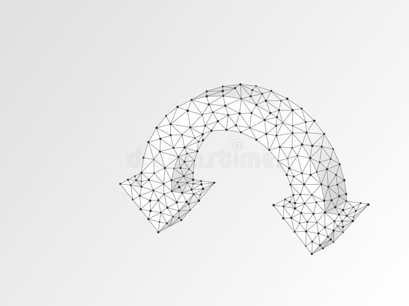 Deux flèches se dirigeant vers le bas Origami polygonal 3d de vecteur numérique d'abrégé sur Wireframe Bas poly téléchargement, c illustration libre de droits