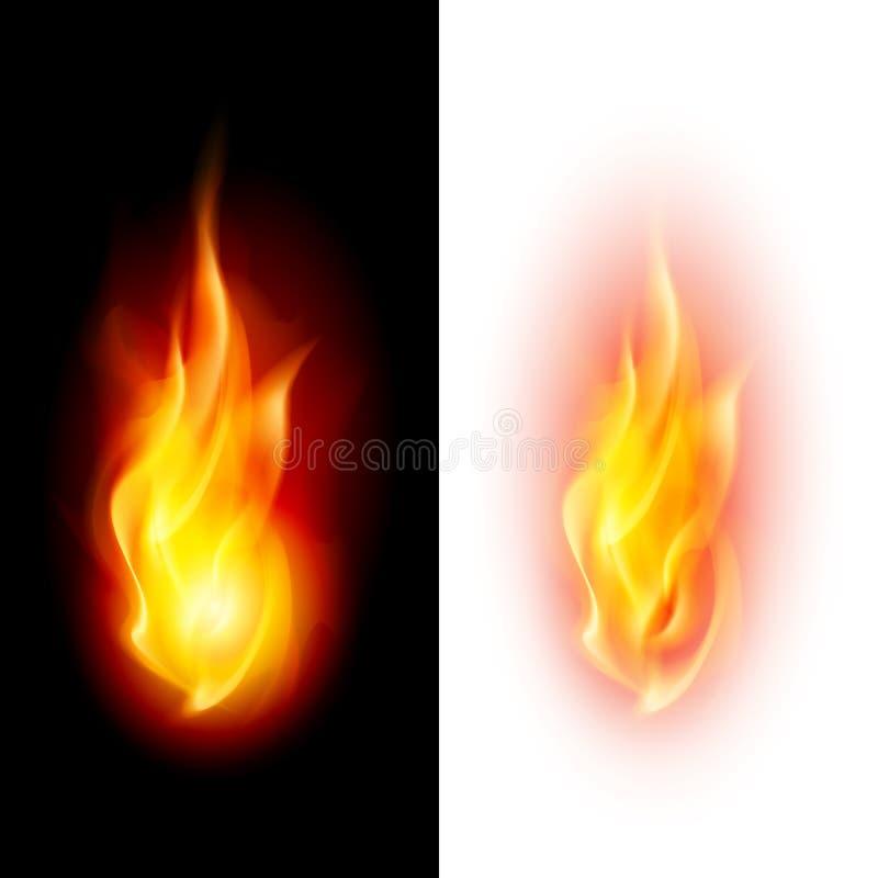 Deux flammes du feu. illustration de vecteur