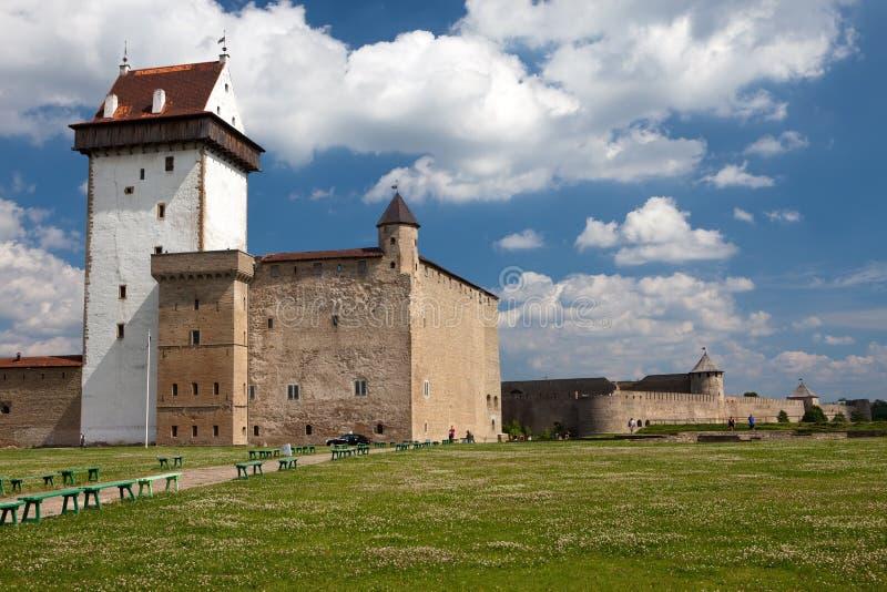 Deux forteresses antiques sur les réceptions du fleuve qui est cadre Narva, l'Estonie et Ivangorod derrière la rivière, Russie photo libre de droits