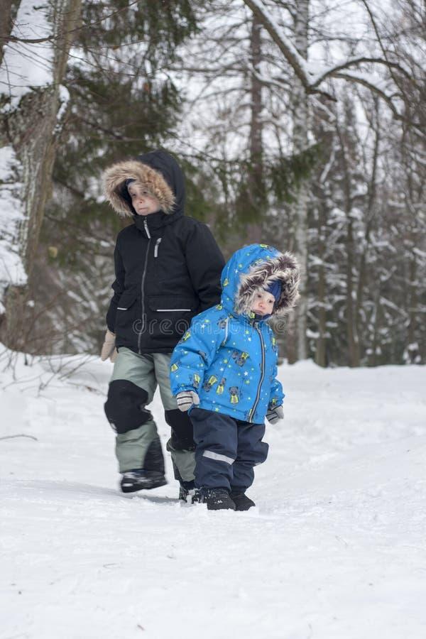 Deux frères dans la forêt de neige d'hiver vont au destina opposé image stock
