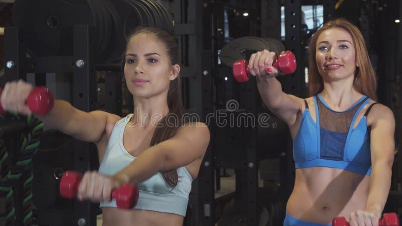 Deux frinds femelles établissant ensemble aux poids de levage de gymnase photos libres de droits