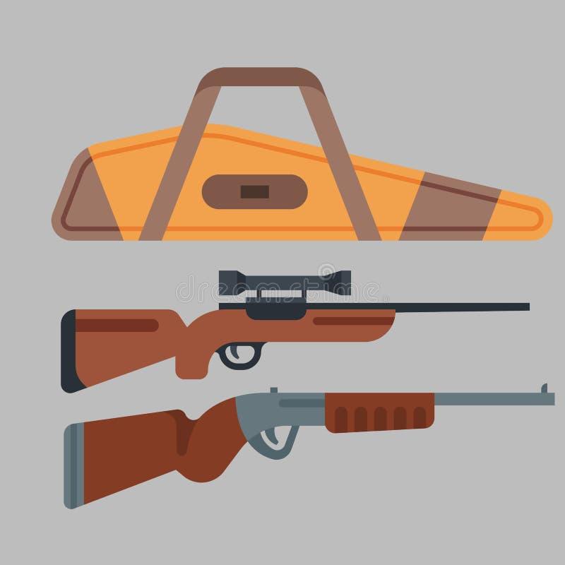 Deux fusils de chasse dirigent le tir en acier d'arme à feu de munitions de vintage de déclencheur de cible de danger d'arme à fe illustration stock