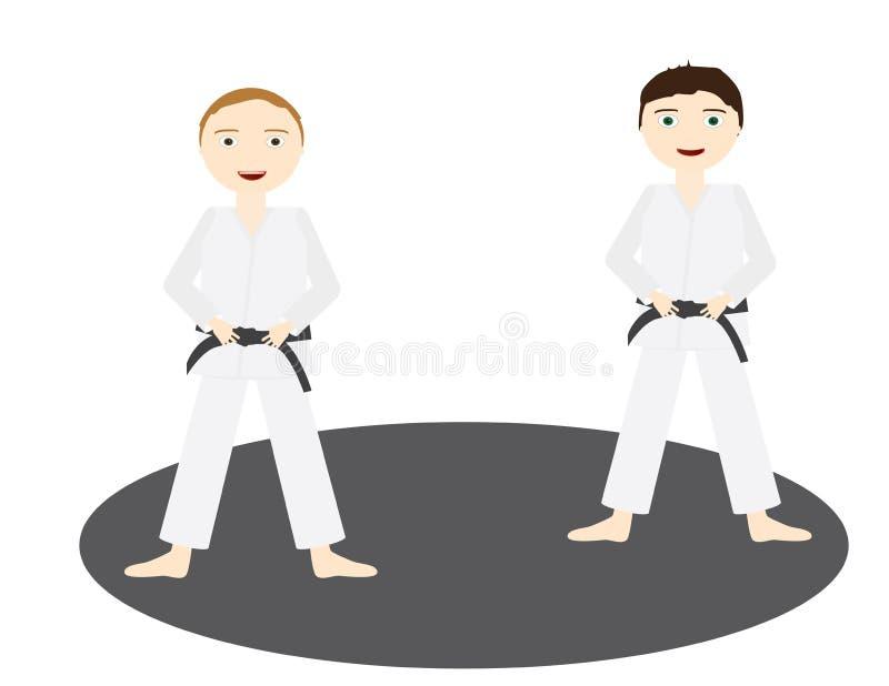 Deux garçons avec les uniformes de judo et la ceinture noire se tenant sur un cercle gris illustration stock