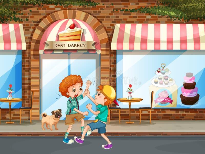 Deux garçons combattant dans la rue illustration stock