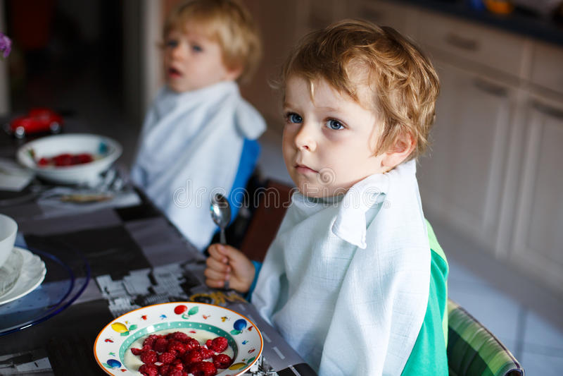 Deux garçons de petit frère ayant l'avoine et les baies pour le petit déjeuner images libres de droits