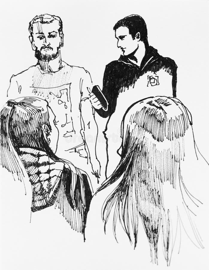 Deux garçons et deux filles flirtant la jalousie illustration stock