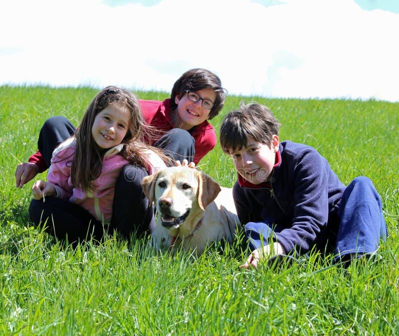 Deux garçons et une fille avec le chien de labrador retriever sur le gra vert photographie stock libre de droits