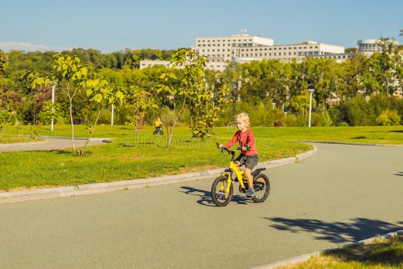 Deux garçons heureux faisant un cycle en parc photographie stock libre de droits