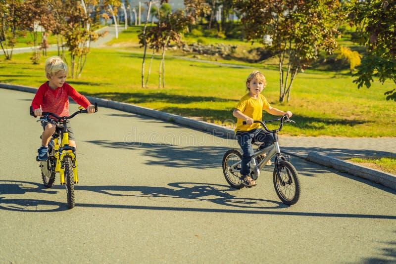 Deux garçons heureux faisant un cycle en parc images libres de droits