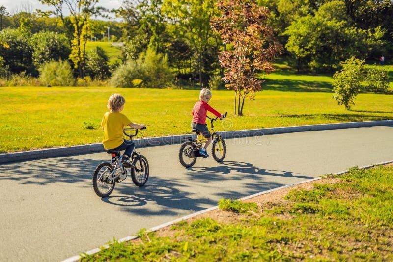 Deux garçons heureux faisant un cycle en parc photo stock