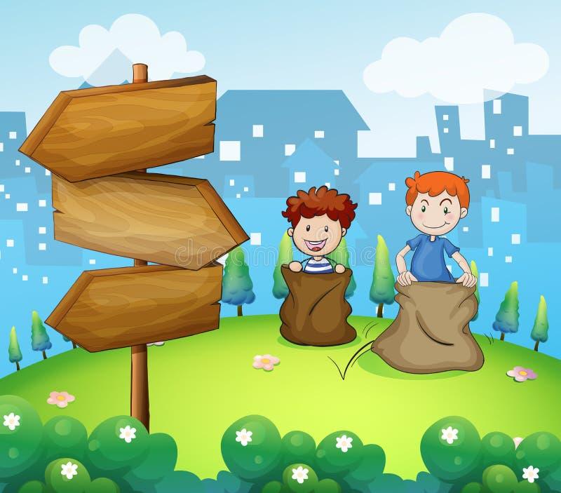 Deux garçons jouant la course de sac près de la flèche embarque illustration stock