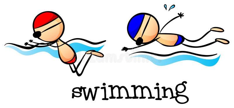 Deux garçons nageant illustration de vecteur