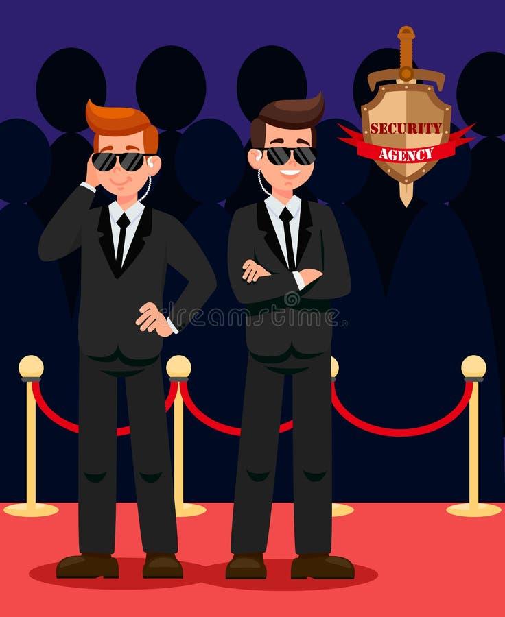 Deux gardes du corps sur des personnages de dessin animé de tapis rouge illustration stock