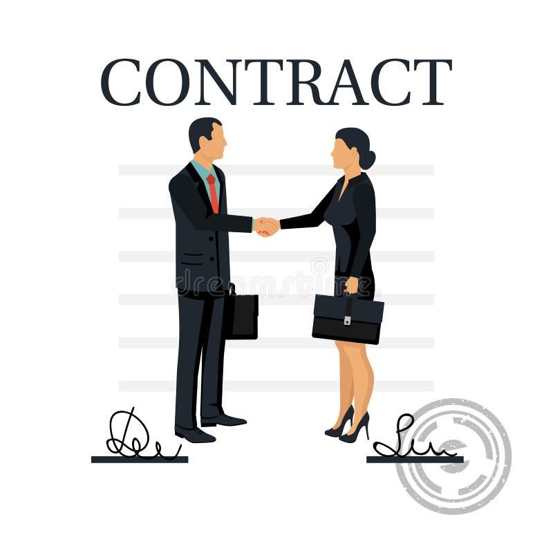 Deux gens d'affaires se serrent la main après la signature du contrat illustration stock