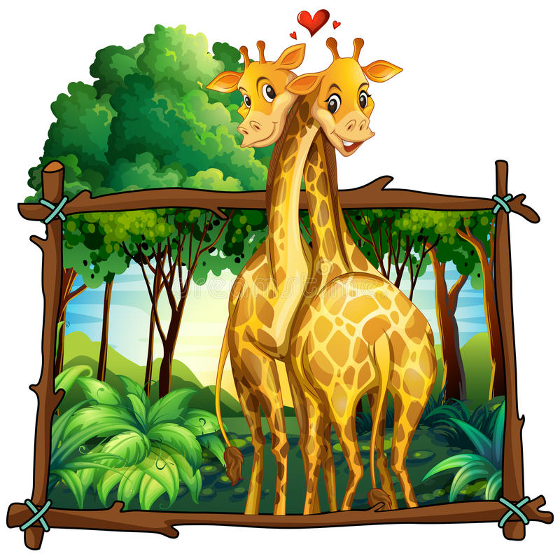 Deux girafes étreignant dans la jungle illustration de vecteur