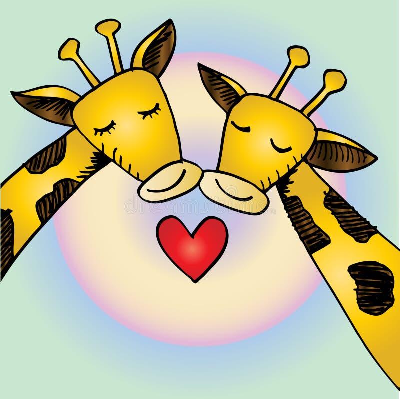 Deux girafes de bande dessinée dans l'amour illustration libre de droits