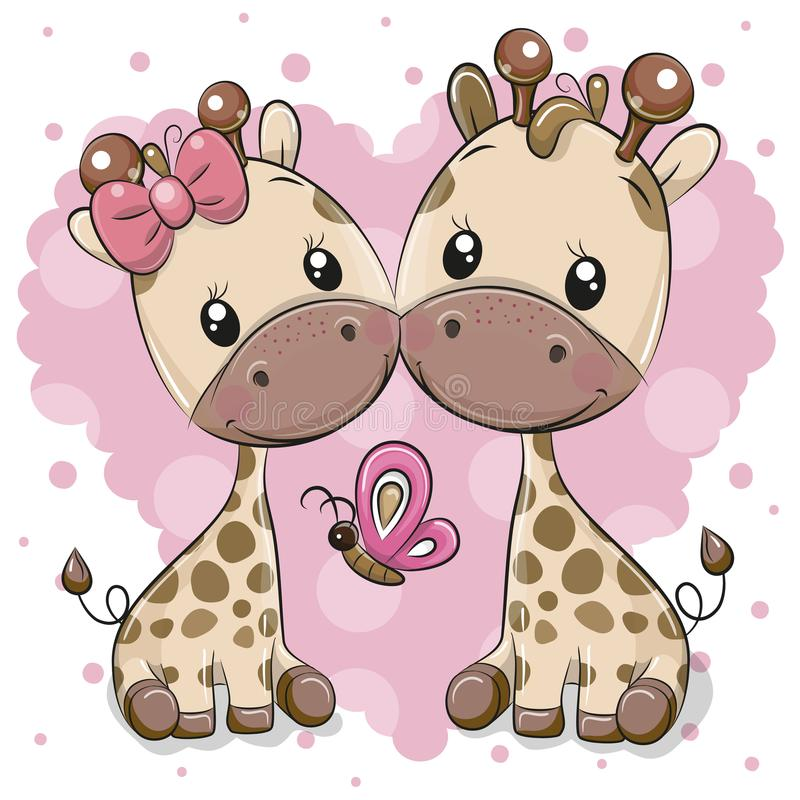 Deux girafes de bande dessinée sur un fond de coeur illustration libre de droits