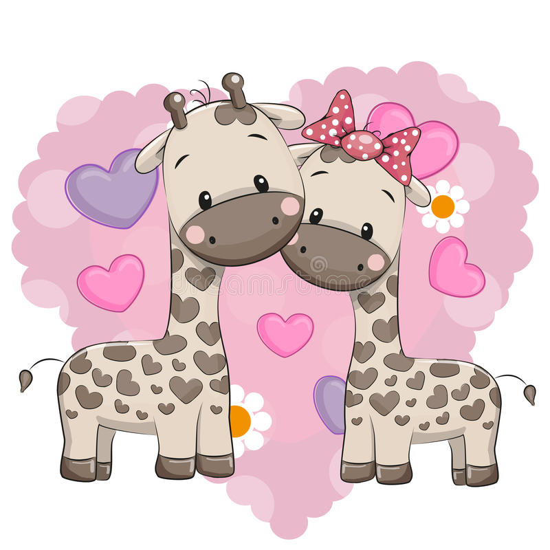 Deux girafes mignonnes illustration de vecteur