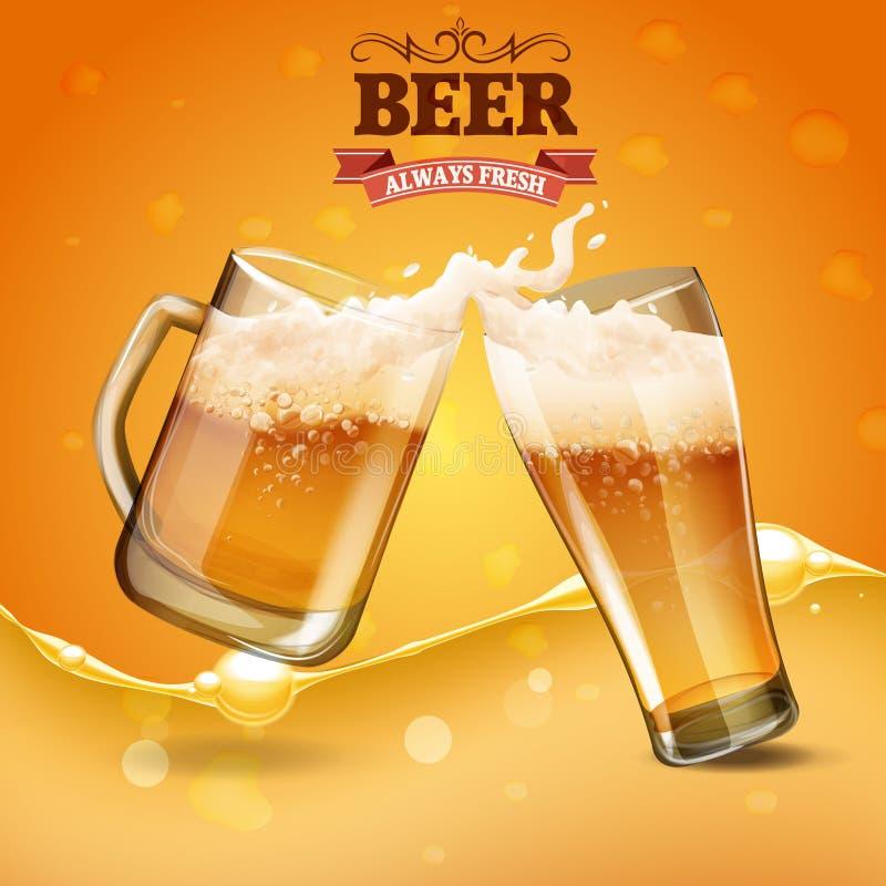 Deux glaces de bière illustration libre de droits