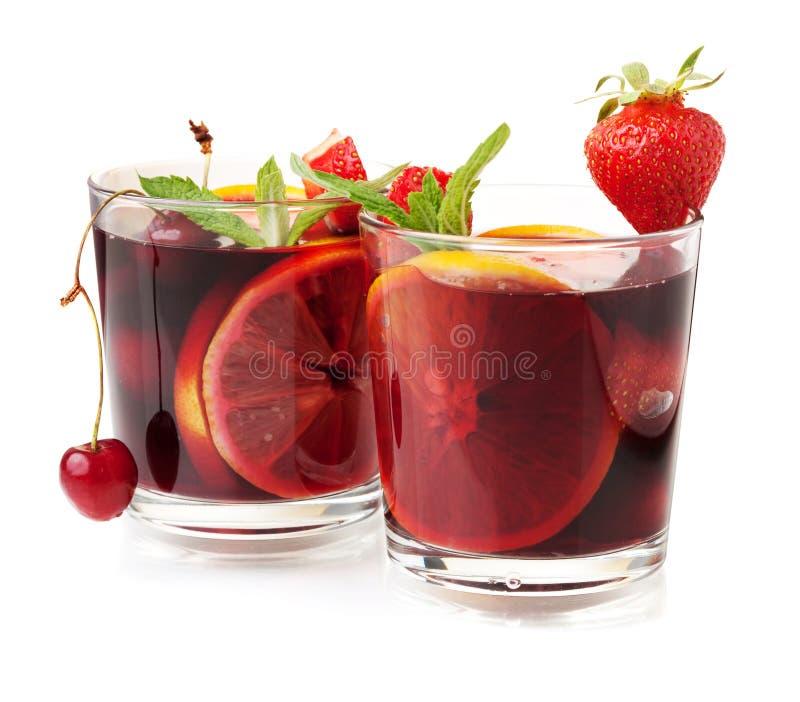 Deux glaces de sangria de fruit frais photographie stock