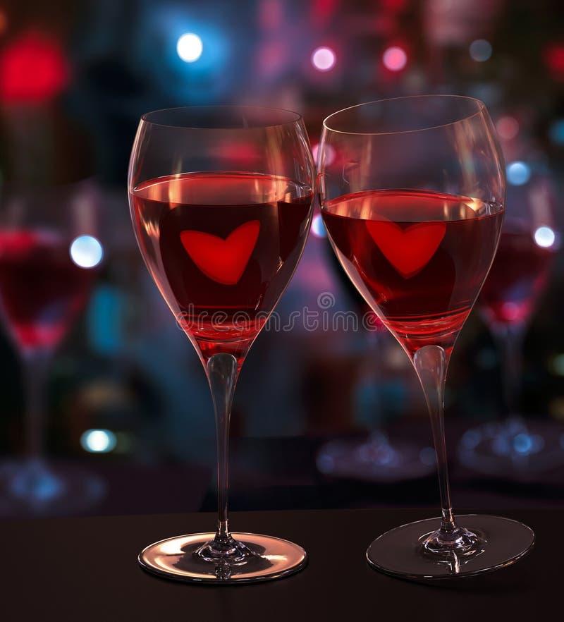 Deux glaces de vin avec amour. Lumières brouillées de ville illustration libre de droits