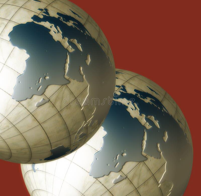 Deux globes illustration stock