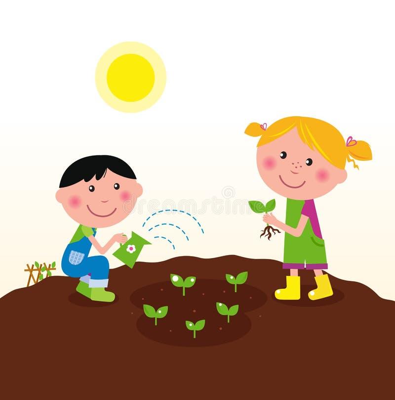 Deux gosses heureux arrosant et plantant des centrales illustration stock
