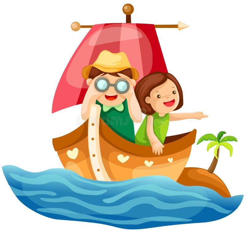 Deux gosses naviguant en mer illustration stock