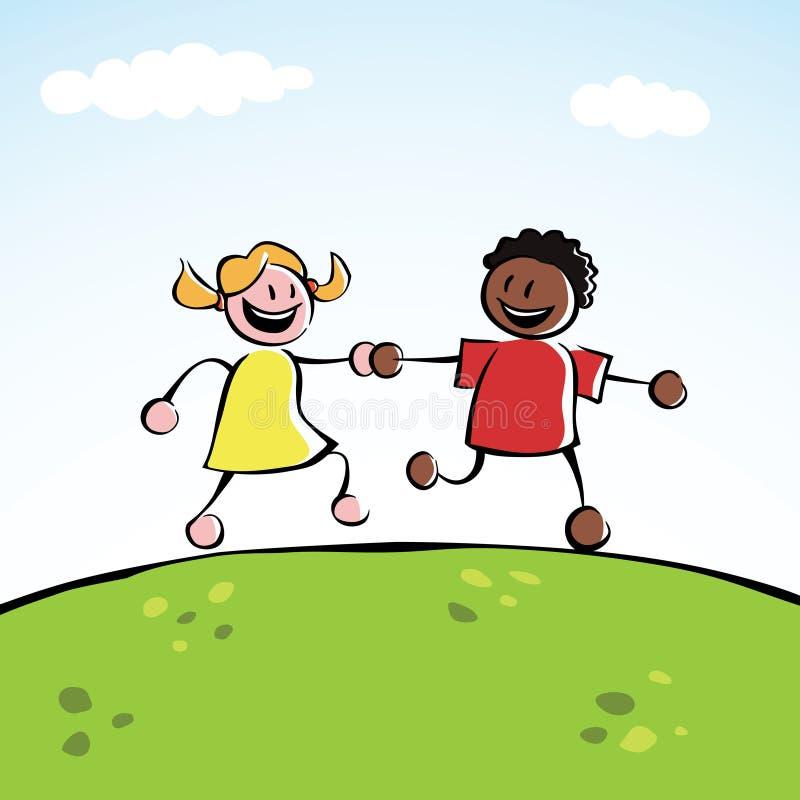 Deux gosses retenant des mains illustration stock
