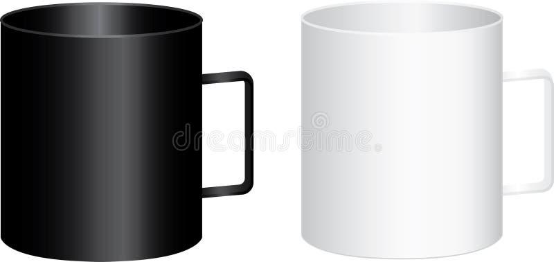 Deux grandes tasses noires et blanches avec la poignée - dirigez l'illustration photographie stock libre de droits