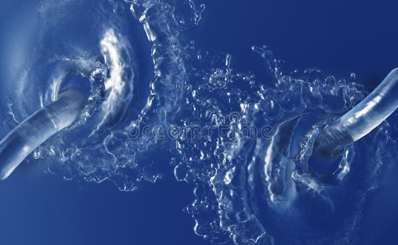 Deux grands jets d'eau éclaboussant dans un liquide bleu des vagues illustration libre de droits