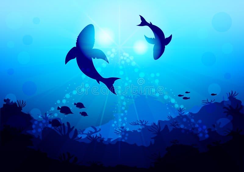 Deux grands requins entourent sous l'eau illuminée par la lumière du soleil et les rayons, vue avec le fond de l'océan illustration stock