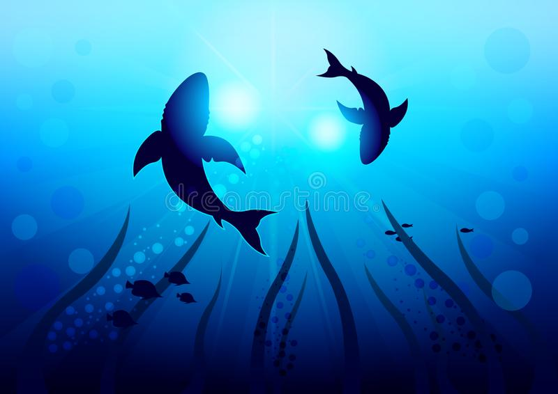 Deux grands requins entourent sous l'eau illuminée par la lumière du soleil et les rayons, vue inférieure avec le fond de l'océan illustration stock