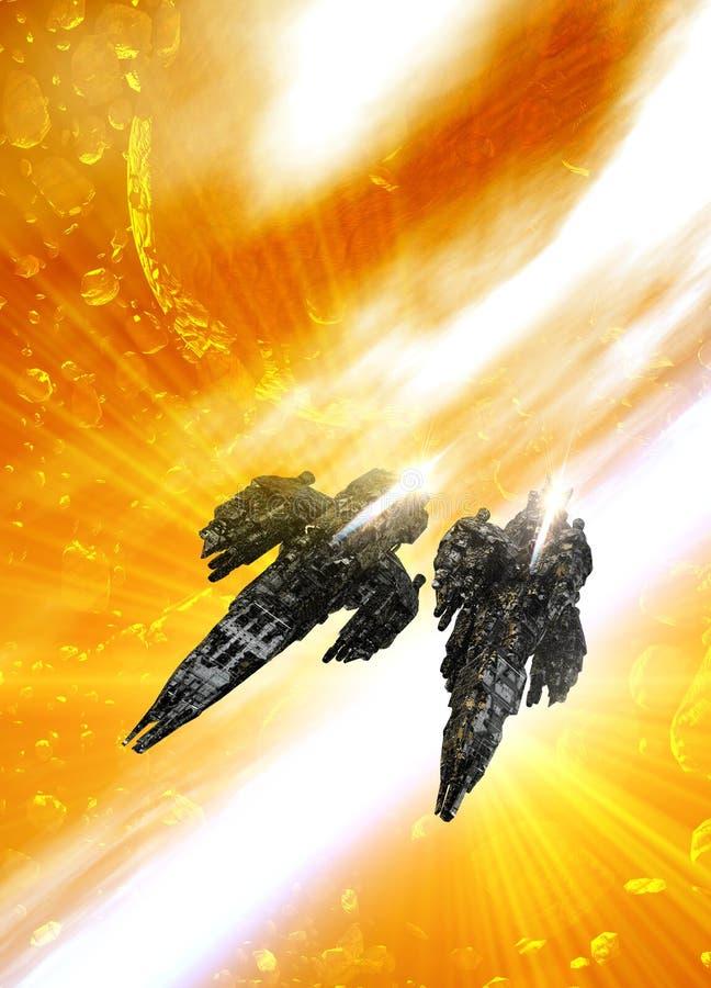 Deux grands vaisseaux spatiaux illustration libre de droits