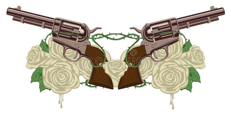 Deux grands vieux revolvers, roses blanches et barbelé illustration stock