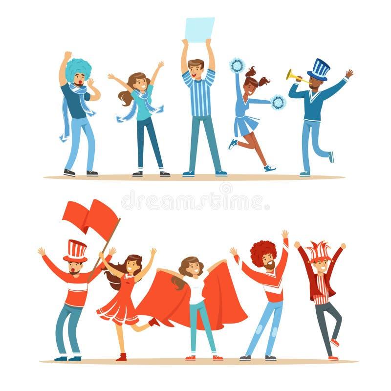 Deux groupes d'équipes de soutien de fans de sports du football dans des costumes rouges et bleus criant et encourageant au stade illustration libre de droits