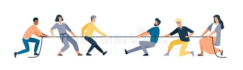 Deux groupes de personnes tirant des extrêmes inverses de corde d'isolement sur le fond blanc Concours de conflit entre le bureau illustration libre de droits