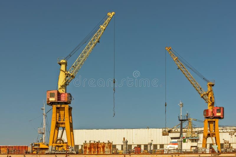 Deux grues dans le port photographie stock