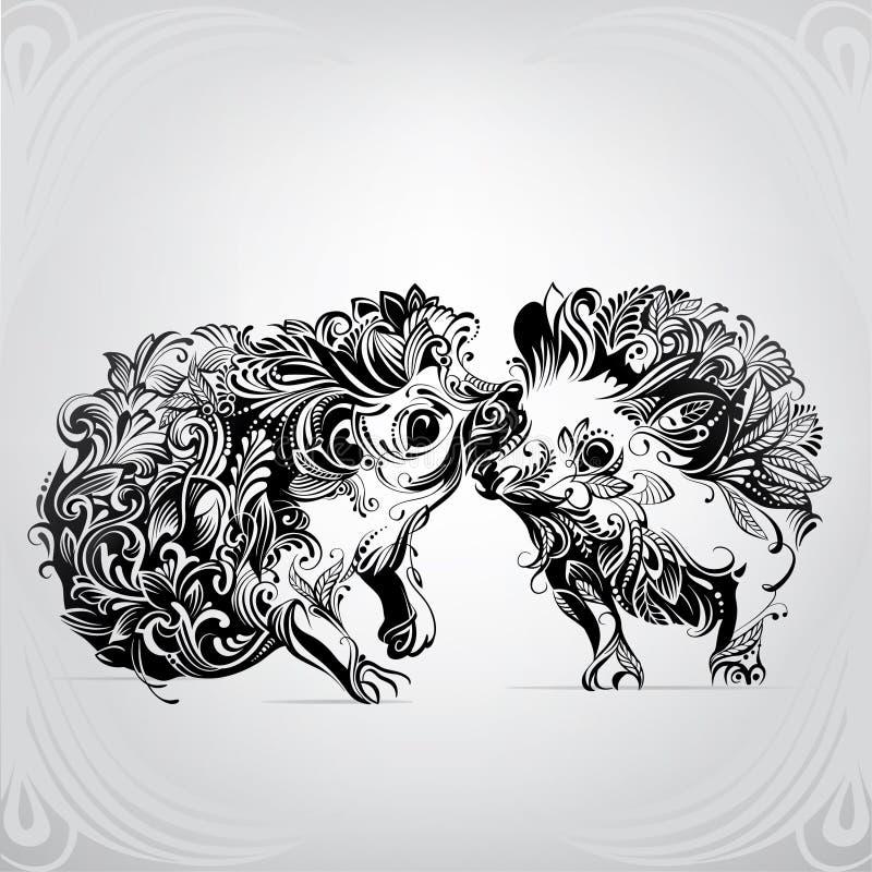 Deux hérissons en ornement illustration stock