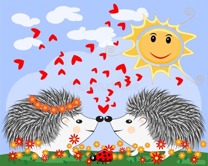 Deux hérissons mignons de bande dessinée d'amants, un garçon et une fille près d'un arc-en-ciel et d'une coccinelle de couleur se illustration stock