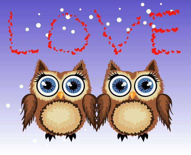 Deux hiboux aimants, une paire, touchent leurs ailes, sur un fond pourpre Coeurs du concept deux L'inscription je t'aime illustration libre de droits