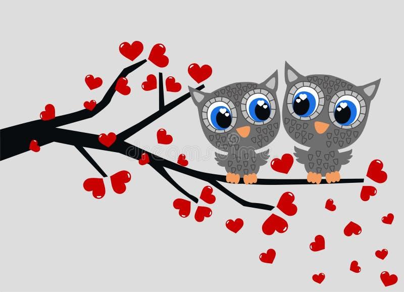 Deux hiboux dans l'amour illustration de vecteur