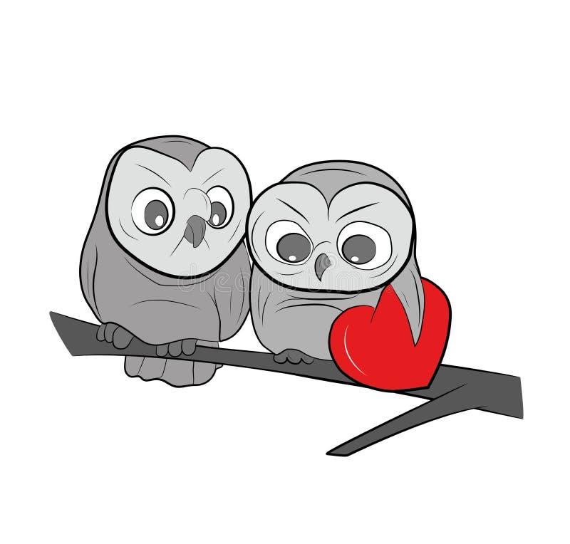 Deux hiboux dessinés mignons se repose sur une branche Illustration de vecteur illustration stock