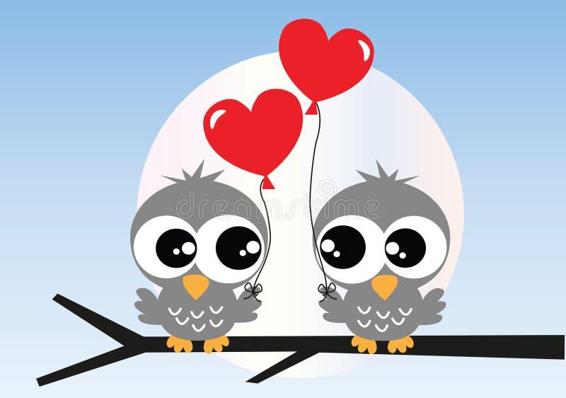 Deux hiboux doux dans l'amour illustration libre de droits