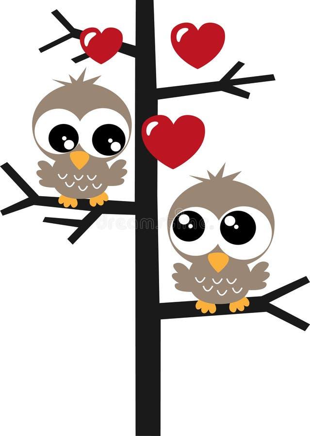 deux hiboux doux dans un amour d'arbre illustration libre de droits